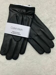 New Calvin Klein Faux Leather Gloves Touchscreen CK Men's size Large Black NWT