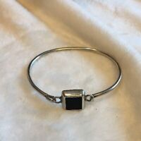 Estate Vintage 925 Sterling Silver Hook Bangle With Square Black Onyx Mexico 925