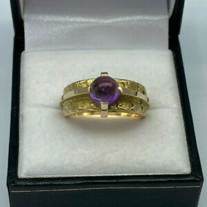 Vintage Handmade 14ct Gold Cabochon Amethyst Ring.  Goldmine Jewellers.