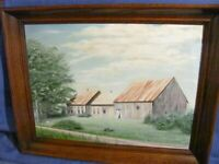 Vintage Oil Painting Rural Maine Antique Cape Home & Barn