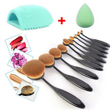 10Pcs Professional Makeup Brushes Set Oval Cream Puff Toothbrush Brush Blac