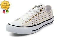 Converse 156601F All Star OX Gold Polka Dot white canvas sneaker shoes 12 NEW