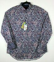 NWT Robert Graham Men's Colfax Blue Paisley Long Sleeve Shirt  M $198 Flip cuffs
