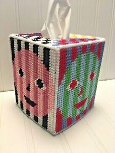 Artful TIssue Cover Multicolor yarn & plastic canvas Colorful
