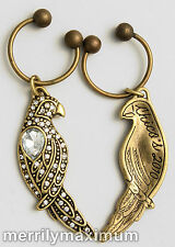 Chico's Signed Antique Gold Tone Crystal Necklace Pendant Parrot Bird Key Fob