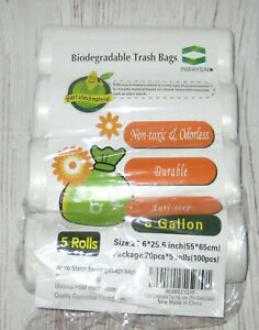 Biodegradable 8 Gallon White Garbage Trash Bags 80 count 21.6 x 25.6 in. 4 Rolls