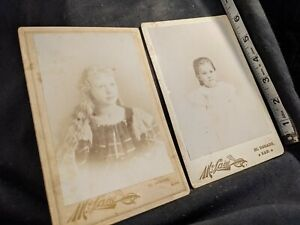 Vintage Cabinet Card (2) Photos young girls McLain Photo El Dorado Kansas