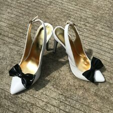 Women Ladies High Heel Bow Slingback Shoes Pointed Toe Big Size Prom Dress Pumps