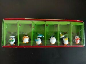 NWT Pier 1 Imports 6 piece Christmas Penguin Art Glass Drink Charms
