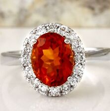 2.55Ct Natural Madeira Citrine and Diamond 14K Solid White Gold Ring
