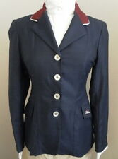 Allon Ladie's Hunt Coat Navy with Maroon Collar & White Piping Accent Size 8