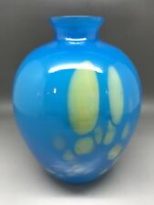 Small Blue Art Glass Vase - Unknown Maker