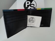 BNWT PS Paul Smith Calf Leather  Black with Stripe Trim Bi Fold Wallet