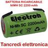BATTERIA RICARICABILE NI-MH SC 1,2V 2200mAh 22x42mm LAMELLE A SALDARE SUB-C 2Ah