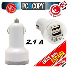 Cargador dual mechero de coche para movil tablet 3.1A doble USB blanco 12-24v
