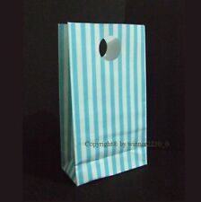 12 Bags Gloss Light Blue & WHITE Striped Gusset Party Loot Treat Gift Paper 18cm