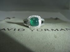 DAVID YURMAN AUTHENTIC ALBION 7MM GREEN ONYX PAVE DIAMOND RING SIZE 6 DY POUCH