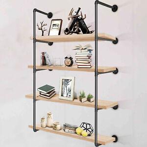 4 Tier 2x Industrial Iron Pipe Wall Shelf Shelving DIY Bookshelf Bracket Storage