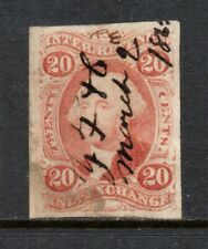 Scott # R42a, Used, VF, 20¢ Inland Exchange, Imperforate, Manuscript Cancel