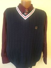 Tommy Hilfiger M Sweater Vest Blue Classic Preppy Golf 100% Cotton