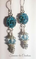 ARTISAN EARRINGS MADE WITH AQUAMARINE BLUE SWAROVSKI CRYSTALS VICTORIAN  STYLE