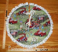 """Red Pick Up,Daisy Americana Handmade Mini Tree Skirt, 21"""" dia,July 4th,patriotic"""