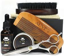 Men Beard Shape Grooming Brush Scissor Pure Balm Oil Combo Travel Bag Gift Kit