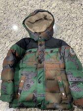 Diesel Puffer Winter Coat Blue Removable Hood Youth 7 Faux Fur Hood
