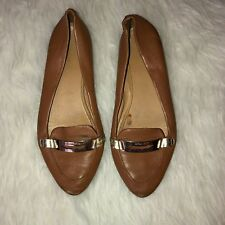 71fb7fd60fa COACH RUTHIE Womens Cognac Leather Loafers Buckle Flat Ballerina Shoes Sz 9