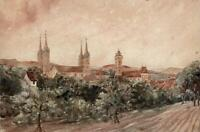 LANDSCAPE BAMBERG BAVARIA GERMANY Watercolour Painting 19TH CENTURY GRAND TOUR