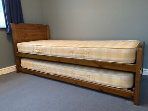 John Lewis solid wood single bed with trundle guest bed