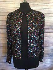 Papell Boutique Holiday Christmas Evening Silk Sequin Jacket/Bolero Multi - Med