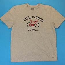 Men's LIFE IS GOOD T Shirt Size Large L Go Places Bicycle Logo Classic Fit Tee