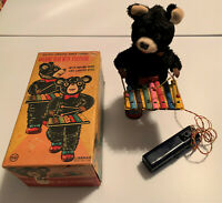 BO WALKING BEAR WITH XYLOPHONE Rare  Vintage LINEMAR Japan Tin Toy, BOXED, Works