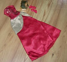Barbie Long Gown Red & Gold With Red Shoes & Gold Purse