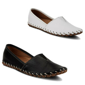 Women Spring Step Kathaleta Loafer Leather Stitched Shoes  NEW
