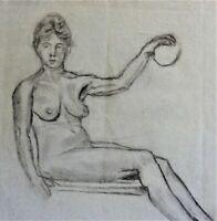 M. KREKELER -Kohle-Zeichnung AKT um 1918: NACKTE FRAU SITZEND MIT BALL
