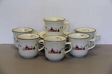 Six Snow Village Cup & Saucer Sets - Pfaltzgraff