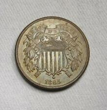 1865 Fancy 5 Shield 2 Cents UNC+ Brown Coin AJ40