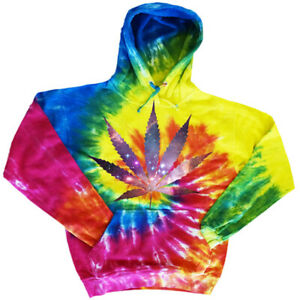 Tie Dye Hoodie Sweatshirt Mens Apparel Tie Dyed Weed Pot Cannabis Shirts