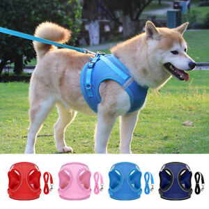 Reflective Nylon Dog Harness with Leash set Breathable Step in Cat Puppy Vest