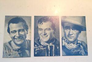 3 Different John Wayne Western Arcade Cards 1940/50's