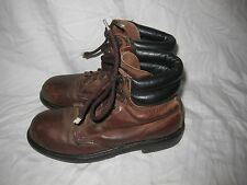 Red Wing Brown leather Steel toe lace up work biker boots 7 oil resistant USA