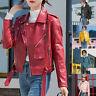 Women Ladies Leather Flight Jacket Coat Ladies Zip Up Biker Casual Tops Outwear