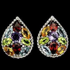 Natural Multi-Gem Cluster Pear Shaped 925 Earrings ~ 6.1gms ~ 30x16mm ~ E0022