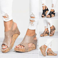 Women's High Wedge Sandals Platform Peep Toes Shoes Summer Ankle Strap Comfy