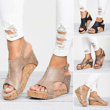 WOMENS LADIES HIGH WEDGE PLATFORM ESPADRILLES SUMMER SANDALS PEEP TOE SHOES SIZE