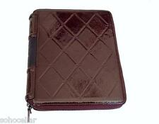 New Monika Chiang $295 Plum Brown Patent Leather Women's IPad Zip Case Cover NWT