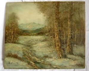 Gemälde Öl auf Leinwand Hst Landschaft Berg Unterzeichnet