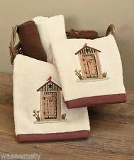Linda Spivey Country Lodge Rustic Outhouse Whimsical 2 pc. Bath Hand Towel Set